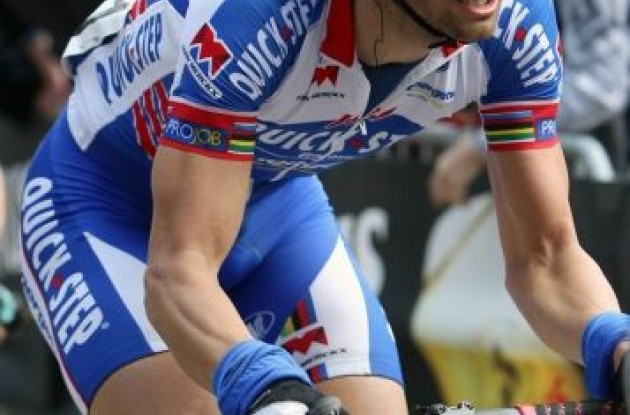 Tom Boonen riding hard in today's Gent-Wevelgem 2011.