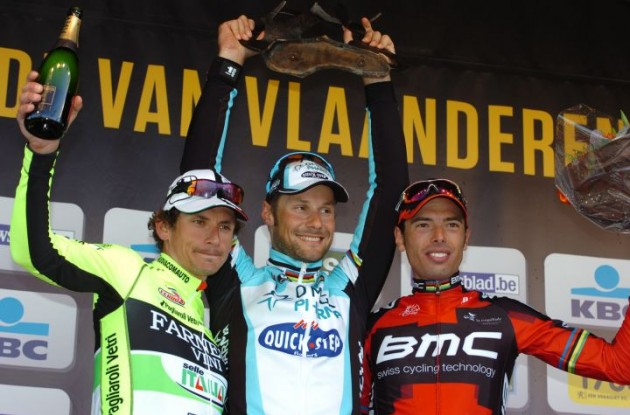 Tom Boonen, Filippo Pozzato and Alessandro Ballan on the Tour of Flanders podium. Photo Fotoreporter Sirotti.