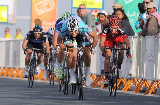 Tom Boonen sprints in Qatar. Photo copyright Tim de Waele.