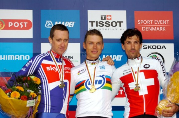 Germany's Tony Martin, Bradley Wiggins (Great Britain) and Fabian Cancellara of Switzerland on the podium in Copenhagen, Denmark.