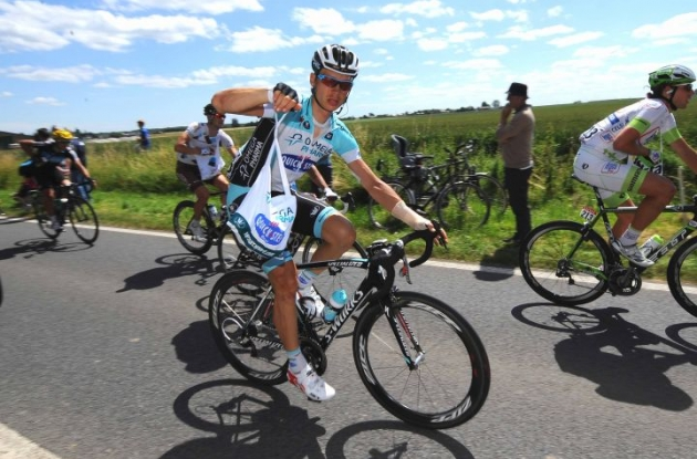Team Omega Pharma-QuickStep's Tony Martin, who crashed yesterday and fractured the scaphoid of his left hand, stayed out of trouble by riding comfortably in the peloton. Photo Time de Waele.