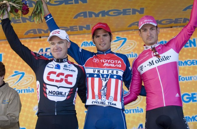Top 3 on the podium: Haedo, O'Grady and Pollack. Photo copyright Roadcycling.com.