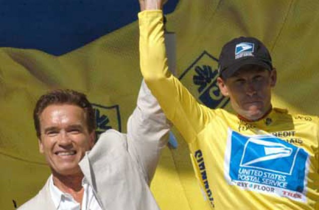 Armstrong and Schwarzenegger on the podium. Will Armstrong be as tough as Schwarzenegger in tomorrow's time trial? Stay tuned to Roadcycling.com to find out! Photo copyright Fotoreporter Sirotti.