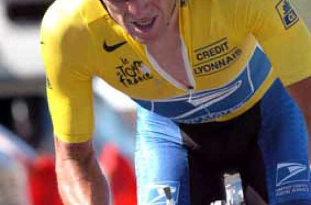 Lance Armstrong was unable to win what he has described as the most important time trial of the last five years of his career. Armstrong now has to go on the offensive in the Pyrenees starting tomorrow. If he's unable to gain time on Ullrich in the next four mountain stages, Ullrich will win the Tour. Photo copyright Fotoreporter Sirotti.