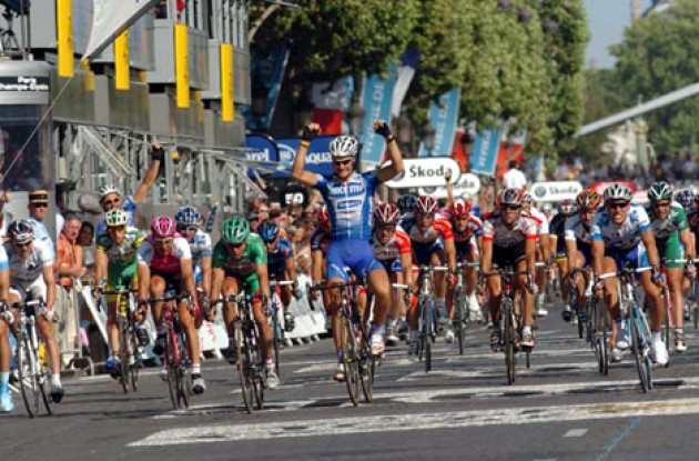 Tom Boonen takes the win on Champs Elysees in Paris.