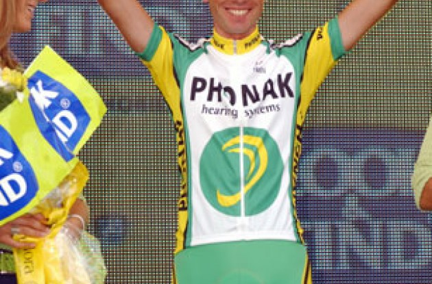 Santoago Perez (Phonak Hearing Systems) now looks set for a podium finish in this year's Vuelta. Photo copyright Unipublic.