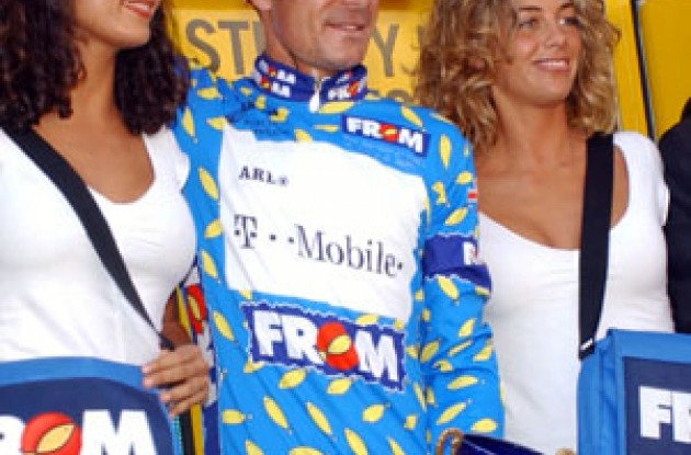 Erik Zabel on the podium. Photo copyright Unipublic.