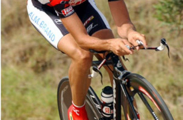 Carlos Sastre (Team CSC) finished 8th today. Photo copyright Unipublic.