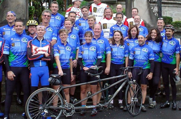 Group photo from the MS Global Cycling Tour where people with MS rode with Tyler.
