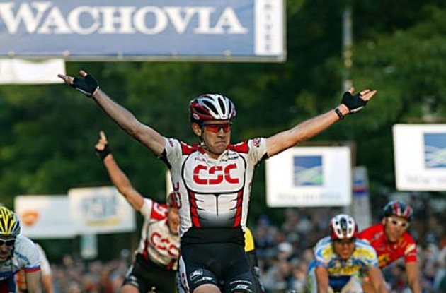 Dean takes the win. Tour de France here I come! Photo copyright Wachovia Cycling.