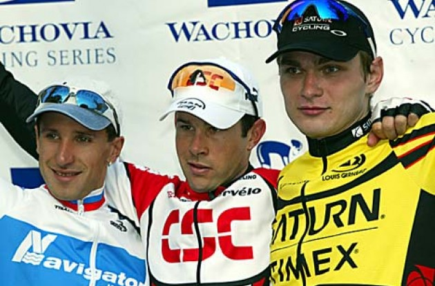 Three proud winners on the Trenton podium. Dean (M), Grishkine (L) and Rapinski (R). Photo copyright Wachovia Cycling.