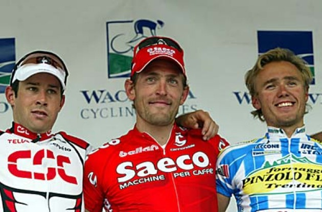 The USPRO podium: Zanini (M), Murn (R) and Dean (L). Photo copyright Wachovia Cycling.