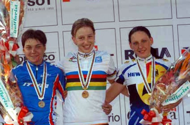 Three proud girls on the podium. From left to right Tolmacheva, Markerink and Fischer. Photo copyright Fotoreporter Sirotti.