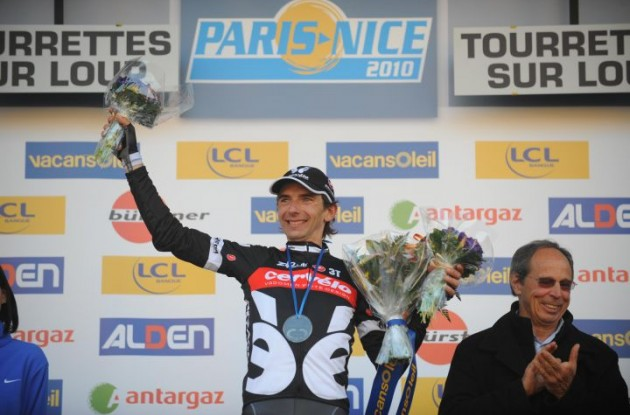 Xavier Tondo on the podium after winning stage 6 of the 2010 Paris-Nice. Photo copyright Fotoreporter Sirotti.