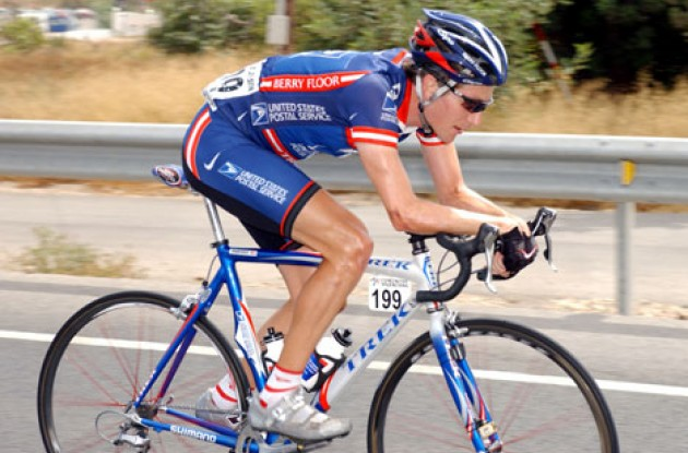 Zabriskie in the aero position used so often in his long breakaways. Photo copyright Unipublic.