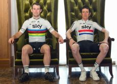 Team Sky's Bradley Wiggins (right) and Mark Cavendish. Photo copyright Jeff Moore Photography.